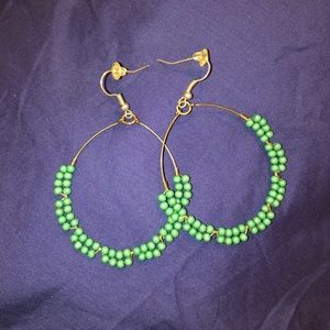 Roberta Roller Rabbit Green Beaded Hoops